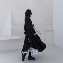 Dress Spring 2020 black S M L longuette singleton  Long sleeves street Crew neck middle-waisted other Socket Ruffle Skirt pagoda sleeve Others 18-24 years old Type A chicsky Color matching with ruffles 81% (inclusive) - 90% (inclusive) other cotton Pure e-commerce (online only)
