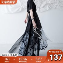 skirt Summer 2020 S M L Black and white longuette street Natural waist A-line skirt character Type A 18-24 years old More than 95% Chiffon chicsky polyester fiber Screen stitching printing Polyester 100% Pure e-commerce (online only)