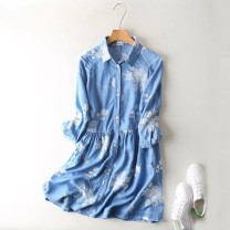 Dress Summer of 2019 Dark blue, light blue M, L Mid length dress singleton  elbow sleeve commute square neck Loose waist Single breasted routine MUMUYICHU literature Embroidery, pockets, buttons 71% (inclusive) - 80% (inclusive) cotton