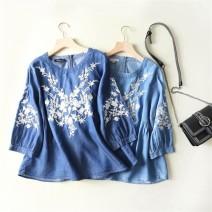 shirt Dark blue, light blue M, L Spring of 2019 cotton 71% (inclusive) - 80% (inclusive) three quarter sleeve commute Regular Crew neck Socket bishop sleeve MUMUYICHU literature Embroidery