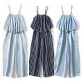 Jeans Summer of 2019 Dark blue, light blue, dark blue stripe, light blue stripe M,L,XL Cropped Trousers High waist Jumpsuit Thin money MUMUYICHU 71% (inclusive) - 80% (inclusive)