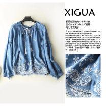 shirt Dark blue, light blue M, L Spring of 2019 cotton 71% (inclusive) - 80% (inclusive) Long sleeves commute Regular V-neck Socket raglan sleeve MUMUYICHU ethnic style