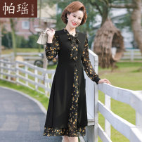 Middle aged and old women's wear Spring 2021 Black flowers XL [recommended 90-110 Jin] 2XL [recommended 110-125 Jin] 3XL [recommended 125-140 Jin] 4XL [recommended 140-155 Jin] collection and purchase priority fashion Dress easy singleton  Decor 40-49 years old Socket moderate Crew neck Medium length