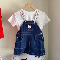 Dress Strap skirt without short sleeves female Other / other 90cm,100cm,110cm,120cm,130cm,140cm Cotton 100% summer leisure time Short sleeve Solid color cotton Splicing style other 7 years old, 8 years old, 3 years old, 6 years old, 18 months old, 2 years old, 5 years old, 4 years old