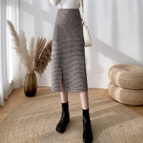 skirt Winter 2020 S,M,L,XL,2XL Black, card Mid length dress commute High waist A-line skirt lattice Type A 25-29 years old 81% (inclusive) - 90% (inclusive) Wool polyester fiber pocket Korean version