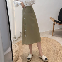 skirt Spring 2021 S,M,L Black, green Mid length dress commute High waist A-line skirt Solid color Type A 18-24 years old 81% (inclusive) - 90% (inclusive) other polyester fiber Button, zipper Korean version