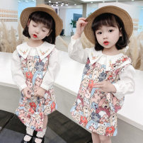 Dress spring and autumn Korean version Pure cotton (100% cotton content) Princess Dress printing Class A female Other / other Cotton 90% other 10% 12 months, 6 months, 9 months, 18 months, 2 years old, 3 years old, 4 years old, 5 years old, 6 years old Long sleeve JTQ Zhejiang Province Huzhou City