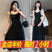 Women's large Summer 2020 Dress singleton  commute easy moderate Socket Sleeveless Solid color Retro V-neck Medium length Three dimensional cutting puff sleeve Li of classics 18-24 years old backless Short skirt Other polyester 95% 5% Pure e-commerce (online only) Pleated skirt straps Three buttons