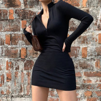 Dress Autumn 2020 Black, gray S,M,L Short skirt singleton  Long sleeves street stand collar High waist Solid color Socket other routine Others 18-24 years old Type X KLIOU zipper D1735594 91% (inclusive) - 95% (inclusive) other polyester fiber Europe and America