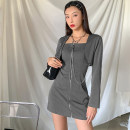 Dress Autumn 2020 grey S,M,L Short skirt Two piece set Long sleeves street square neck High waist Solid color zipper One pace skirt routine Others 18-24 years old Type H KLIOU Chain, zipper More than 95% other polyester fiber Europe and America