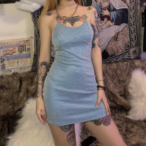 Dress Autumn of 2019 blue S,M,L Short skirt singleton  Sleeveless street other High waist other Socket other other camisole 18-24 years old Type H KLIOU 91% (inclusive) - 95% (inclusive) other polyester fiber Europe and America
