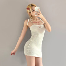 Dress Spring 2021 white S,M,L Short skirt singleton  Sleeveless street One word collar High waist Animal design Socket other routine Others 18-24 years old Type X KLIOU 91% (inclusive) - 95% (inclusive) other polyester fiber Europe and America