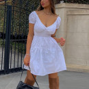 Dress Summer 2021 White, black S,M,L Short skirt singleton  Short sleeve street V-neck High waist Solid color Socket Princess Dress puff sleeve Others 18-24 years old Type X KLIOU K21D01100 91% (inclusive) - 95% (inclusive) other polyester fiber Europe and America
