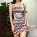 Dress Summer 2020 Pink S,M,L Short skirt singleton  Sleeveless street One word collar High waist Leopard Print Socket other other camisole 18-24 years old Type X KLIOU D1737324 91% (inclusive) - 95% (inclusive) other polyester fiber Europe and America