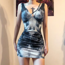 Dress Summer 2020 green S,M,L Short skirt singleton  Sleeveless street V-neck High waist Abstract pattern Socket other routine camisole 18-24 years old Type X KLIOU tie-dyed D1738571 91% (inclusive) - 95% (inclusive) other polyester fiber Europe and America