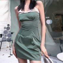 Dress Summer 2021 green S,M,L Short skirt singleton  Sleeveless street other High waist other other One pace skirt other camisole 18-24 years old Type X KLIOU Splicing K21D01375 More than 95% other polyester fiber Europe and America