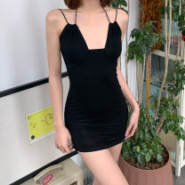Dress Spring 2021 black S,M,L Short skirt singleton  Sleeveless street other High waist other Socket One pace skirt other Others 18-24 years old Type X KLIOU Hollowed out, pleated K20D11143 91% (inclusive) - 95% (inclusive) other polyester fiber Europe and America
