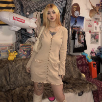 Dress Autumn of 2019 Apricot, black S,M,L Short skirt singleton  Long sleeves street V-neck High waist Solid color Single breasted A-line skirt pagoda sleeve Others 18-24 years old Type H KLIOU Auricularia auricula, pocket, button D1735885 91% (inclusive) - 95% (inclusive) other polyester fiber