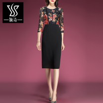 Dress Spring 2020 Black print S M L XL XXL XXXL Mid length dress singleton  three quarter sleeve commute Crew neck middle-waisted Decor zipper A-line skirt routine Others 30-34 years old Type A Yingshi Ol style Stitched zipper lace print More than 95% Lace polyester fiber Polyester 100%