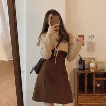 Women's large Winter 2020 Coffee suspender skirt blue suspender skirt blue top Beige top Beige Top + coffee suspender skirt Blue Top + blue suspender skirt S M L XL Dress Two piece set commute Self cultivation Cardigan Long sleeves literature other routine Chunli leaf 18-24 years old