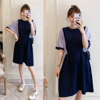 Women's large Summer 2021 navy blue Large L, large XL, large 2XL, large 3XL, large 4XL Dress singleton  commute easy thin Socket Short sleeve Korean version Crew neck Three dimensional cutting Bat sleeve 25-29 years old Middle-skirt