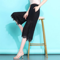 Casual pants 3017 seven black with pockets 3016 nine black with pockets S M L XL 2XL 3XL 4XL Summer 2020 Cropped Trousers Wide leg pants High waist commute Thin money 30-34 years old 96% and above QZX3017 Qian Zixuan polyester fiber Lace stitching polyester fiber Polyester 100%
