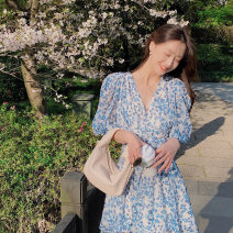 Dress Summer 2021 Blue and white flowers S,M,L singleton  Short sleeve commute V-neck High waist puff sleeve 25-29 years old Type A Retro