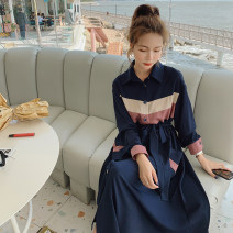 Dress Summer 2021 Navy Blue S,M,L,XL Mid length dress singleton  Long sleeves commute Polo collar High waist Single breasted A-line skirt routine Others 25-29 years old Type A Korean version Pocket, lace up, panel, button 51% (inclusive) - 70% (inclusive) other polyester fiber
