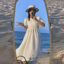 Dress Summer 2021 white S,M,L longuette singleton  Short sleeve Crew neck High waist Solid color Socket A-line skirt puff sleeve 25-29 years old Type A other Bandage More than 95%