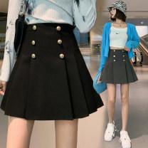 skirt Summer 2021 S,M,L,XL Gray, black Short skirt commute High waist A-line skirt Solid color Type A 18-24 years old polyester fiber Korean version