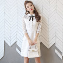 Dress Spring of 2018 White 2, black 2 S,M,L,XL,2XL Middle-skirt singleton  three quarter sleeve Sweet Crew neck middle-waisted Solid color Others Lace