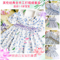 Dress female & Other Fairies Cotton 100% summer Europe and America Short sleeve Broken flowers Pure cotton (100% cotton content) Pleats Class A 12 months, 9 months, 18 months, 2 years, 3 years