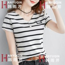 T-shirt M L XL 2XL 3XL Spring 2020 Short sleeve V-neck Self cultivation Regular routine commute cotton 86% (inclusive) -95% (inclusive) 18-24 years old Korean version originality Pinstripe solid color matching Han Yuqin Splicing thread Cotton 95% polyurethane elastic fiber (spandex) 5%