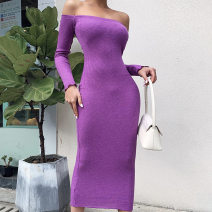 Women's large Winter 2016 Grey, purple, orange Large L, m, s singleton  Long sleeves Solid color square neck Other Middle-skirt