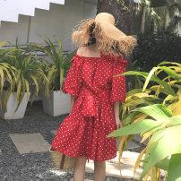 Dress Summer 2020 Red dots, beige S, M