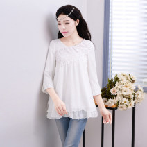 Lace / Chiffon Spring of 2018 white three quarter sleeve Original design Socket singleton  easy V-neck Solid color routine Flowers and moon dance in spring