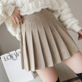 skirt Winter 2020 S,M,L,XL Short skirt Versatile High waist Pleated skirt Solid color Type A Wool Other / other