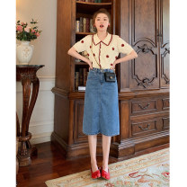 Fashion suit Summer 2020 S M L XL Safflower Top + denim skirt 18-25 years old Dinohin DNX4758 Polyester 70% other 30% Pure e-commerce (online only)