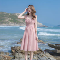 Dress Summer 2021 Pink XS,S,M,L Mid length dress singleton  Sleeveless Sweet V-neck High waist Solid color zipper A-line skirt Flying sleeve camisole 18-24 years old Type A Bow, ruffle, lace, mesh, zipper More than 95% other other college