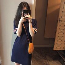 Dress Summer 2021 Navy 3j-311 S M L XL 2XL Middle-skirt singleton  Short sleeve commute Polo collar High waist Solid color Socket A-line skirt routine Others 25-29 years old Type A Kamewind Korean version Splicing 3J311# 30% and below knitting polyester fiber Viscose (viscose) 70% polyester 30%