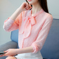 shirt White, blue, pink S M L XL 2XL 3XL Autumn of 2019 other 96% and above Long sleeves commute Regular V-neck Single row multi button shirt sleeve Solid color 30-34 years old Straight cylinder Colorful flowers Korean version Other 100% Pure e-commerce (online only) Chiffon