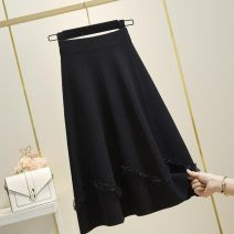 skirt Autumn 2020 Average size black longuette commute High waist A-line skirt Solid color Type A F305152 31% (inclusive) - 50% (inclusive) knitting Other / other Viscose bow Korean version