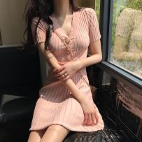 Dress Summer of 2018 Pink Black apricot Average size (160 / 84A) singleton  Short sleeve commute V-neck High waist Solid color Socket other routine