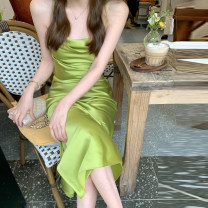 Dress Spring 2021 Green dress pink dress grey dress ice blue dress S M L XL longuette singleton  Long sleeves commute One word collar High waist Solid color Socket A-line skirt routine camisole 18-24 years old Shu Chen Korean version zipper D3N3642 More than 95% other Other 100%