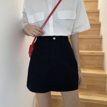 skirt Summer 2021 S M L XL XXL Black grey black Short skirt commute High waist A-line skirt Solid color Type A 18-24 years old More than 95% Denim Hi Zi Shun other pocket Korean version Other 100% Pure e-commerce (online only)
