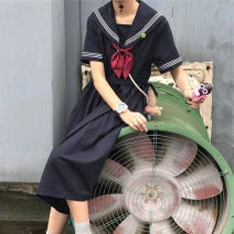Dress Summer 2021 White, black S,M,L,XL Mid length dress singleton  Short sleeve commute High waist Solid color Socket A-line skirt routine 18-24 years old Type A polyester fiber