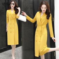 Dress Spring 2020 Black yellow M L XL 2XL Mid length dress singleton  Long sleeves commute tailored collar High waist Solid color double-breasted A-line skirt routine Others 25-29 years old Chic Garden Korean version Pocket button A12276836 More than 95% other Other 100% Pure e-commerce (online only)