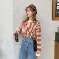 T-shirt Yellow blue stripe orange blue stripe orange red stripe blank version S M L XL XXL Autumn 2020 Long sleeves Crew neck easy Regular routine Sweet polyester fiber 86% (inclusive) -95% (inclusive) 18-24 years old originality Love song #Stripe 331 Pure e-commerce (online only) college