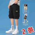 Casual pants UNS Youth fashion routine Shorts (up to knee) easy Other leisure Micro bullet UNSHRDg19HS-C summer youth tide 2021 Medium low back Straight tube Cotton 100% Overalls Pocket trim hem Non iron treatment Solid color plain cloth cotton Summer 2021 Pure e-commerce (online sales only)
