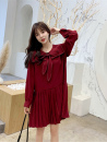 Dress Autumn 2020 Red, black S,M,L,XL Mid length dress singleton  Long sleeves commute Admiral Loose waist Solid color Socket Pleated skirt routine Others 18-24 years old Type A Other / other Korean version Bow, fold NWJD250668254585 51% (inclusive) - 70% (inclusive) other other